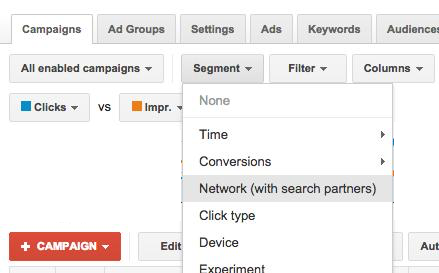 Adwords checking search partners performance
