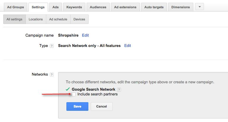 adwords switching off appearing on partner networks