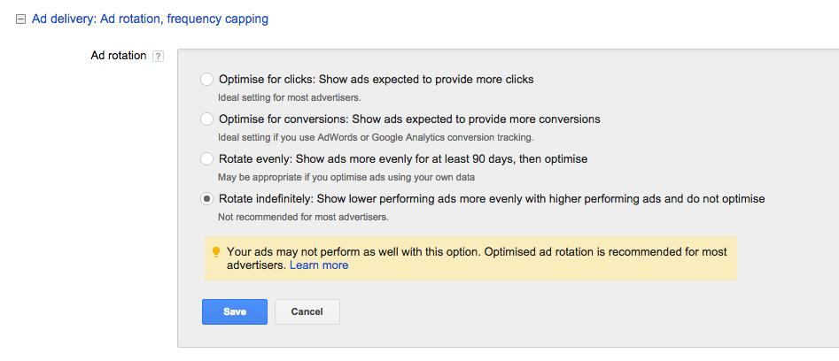changing adwords ad rotation