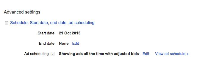 editing the ad schedule in adwords