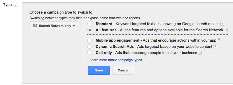 google adwords changing the campaign type