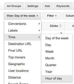 time of day for campaigns in adwords